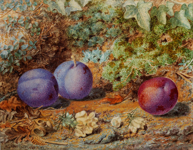 Thomas Worsey (British, 1829-1875) Still life of plums on a mossy bank