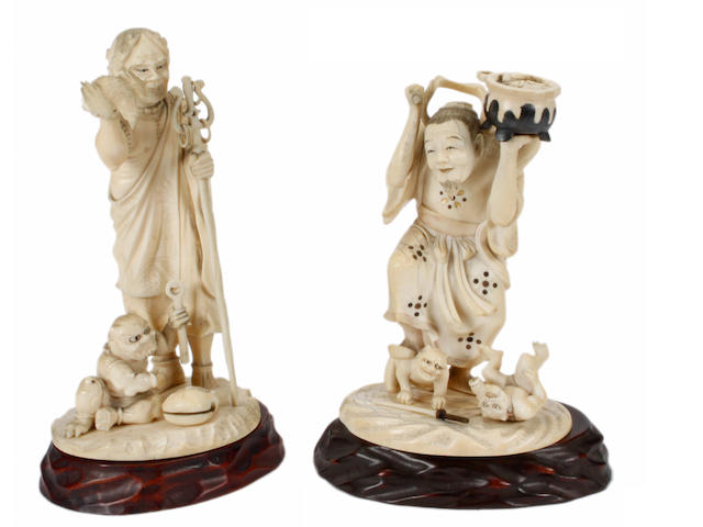 A Japanese ivory figure of an itinerant priest