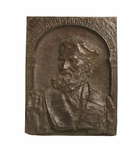 "A Bronze wall plaque ""Professor John Young"" Archibald McFarlane Shanan (1850-1915)"