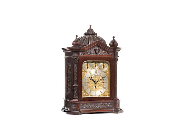 A late 19th century mahogany quarter chiming bracket clock Brook and Son Edinburgh