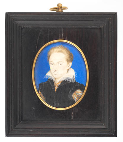 Isaac Oliver (British, 1560/5-1617) A Gentleman, possibly Henry Frederick, Prince of Wales (1594–1612), wearing a black figured doublet cut to reveal gold embroidered white under-doublet with lawn collar trimmed with lace, gold hoop earring
