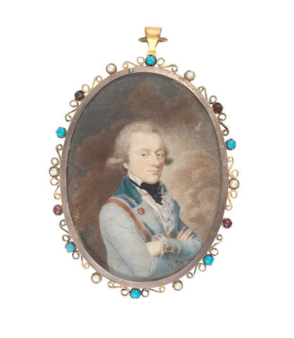 The artist signing 'Prizot' (active circa 1792) A Gentleman, wearing teal coat with velvet collar, tricolor sash and badge, white waistcoat, frilled chemise and black stock, his powdered wig worn en queue, he stands three-quarter length with his arms folded