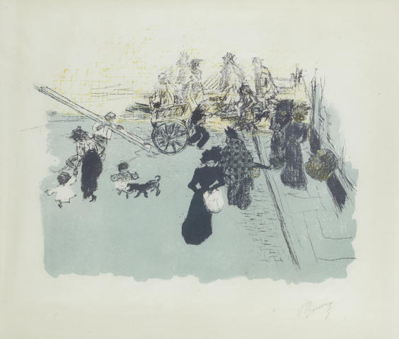 Pierre Bonnard (French, 1867-1947) Coin de rue Lithograph in colours, 1899, on wove, signed in pencil, from Quelques aspects de la vie de Paris, printed in an edition of 100 of which only a few were signed, 270 x 350mm (10 5/8 x 13 3/4in)(I)