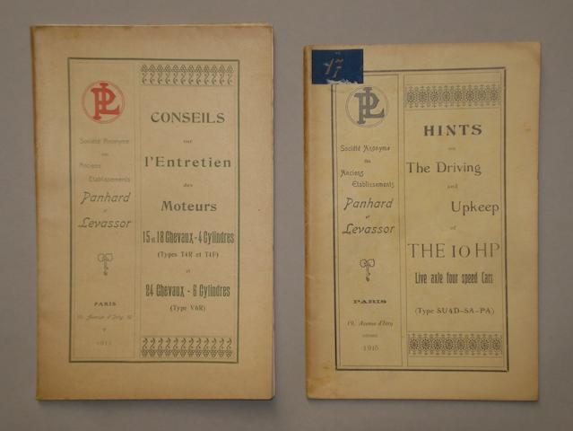 A Panhard et Levassor 10hp manufacturers handbook 1915,