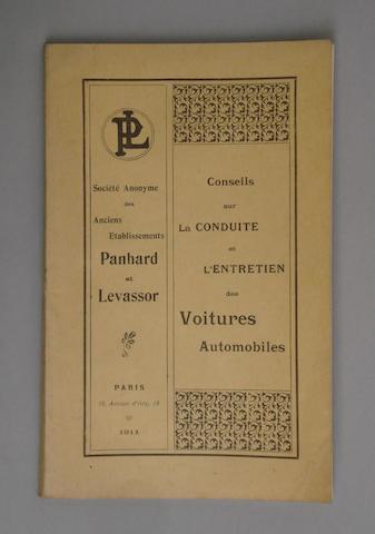 A Panhard et Levassor manufacturers handbook 1900-1911,