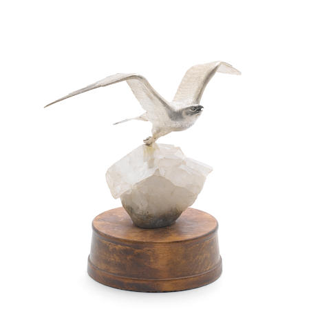 A silver mounted quartz model of a falcon, by Meiling & Gartrell, London 1990,