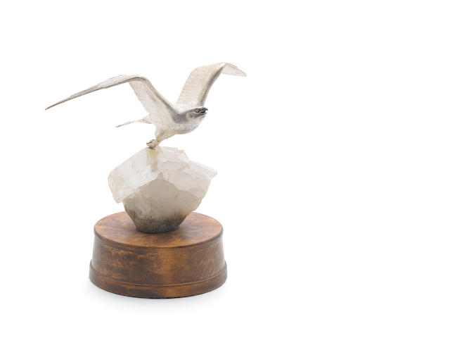 A silver peregrine in flight Meiling & Gartrell London 1962  (23cm)