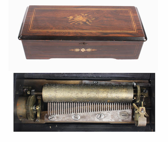 An eight air lever wind Swiss cylinder musical box, circa 1879 2