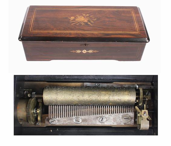 An eight air lever wind Swiss cylinder musical box, circa 1879 2