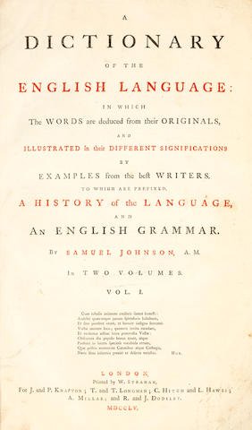 JOHNSON (SAMUEL) A Dictionary of the English Language, 2 vol.