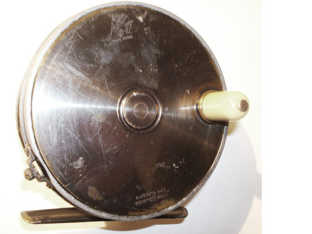 A Hardy brass faced 'Perfect' fly reel 1906 check 4½ in.