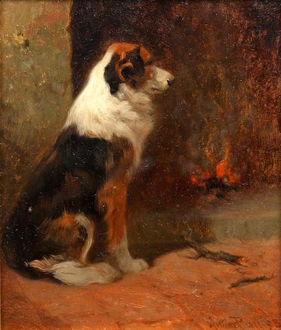 Arthur Batt (British, 1846-1911) A seated collie beside a hearth