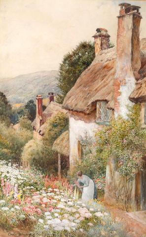 Arthur Claude Strachan (British, 1865-1938) Cottages near Minehead