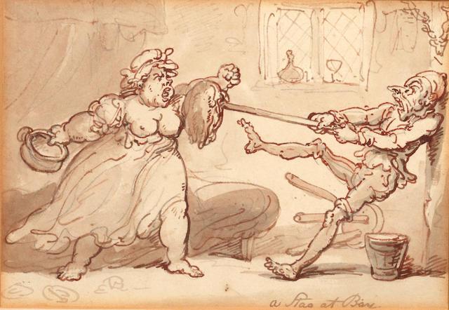 Thomas Rowlandson (British, 1756-1827) A Stag at Bay