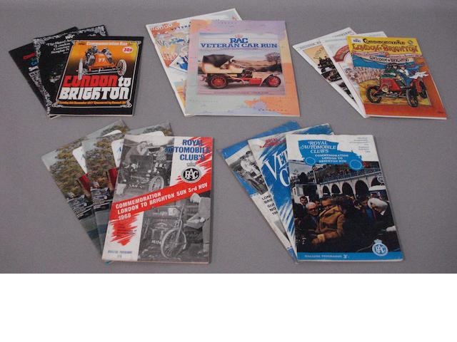 Fourteen London to Brighton RAC Veteran Car Run programmes,