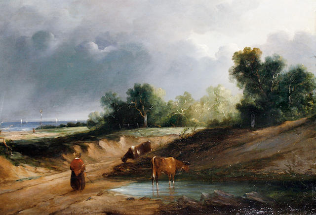 Follower of Anthony Vandyke Copley Fielding, P.O.W.S. (British, 1787-1855) Landscape with figure and cattle
