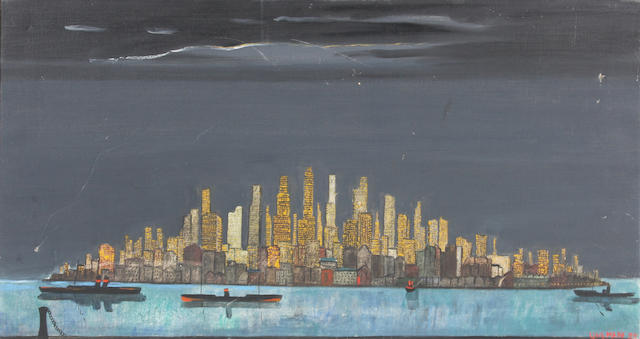 Fred Uhlman (British, 1901-1985) New York at night 58.5 x 94.5cm.