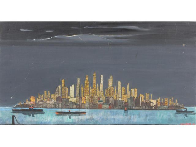 Fred Uhlman (British, 1901-1985) New York at night 58.5 x 94.5cm.