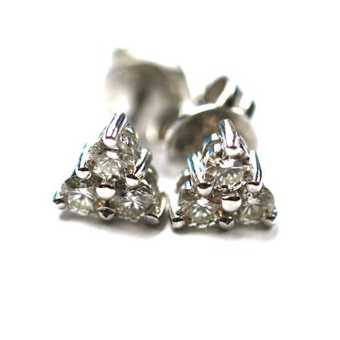 A pair of trefoil diamond earstuds