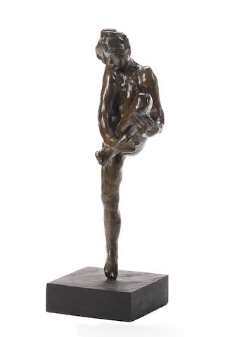 Sculpture of nude girl ascribed to Rodin, bronze (with an envelope of provenance)
