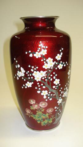 A Japanese cloisonne vase 20th Century