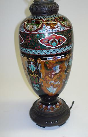 A Japanese cloisonne vase in the form of a table lamp 19th/20th Century