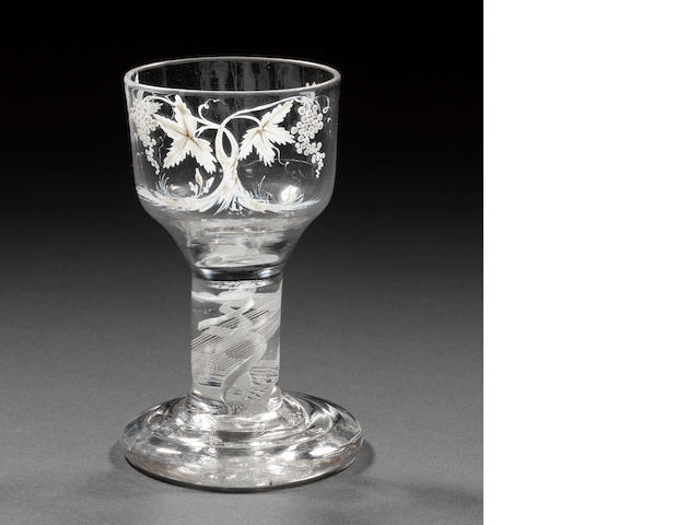 A Beilby enamelled opaque-twist firing glass, circa 1765