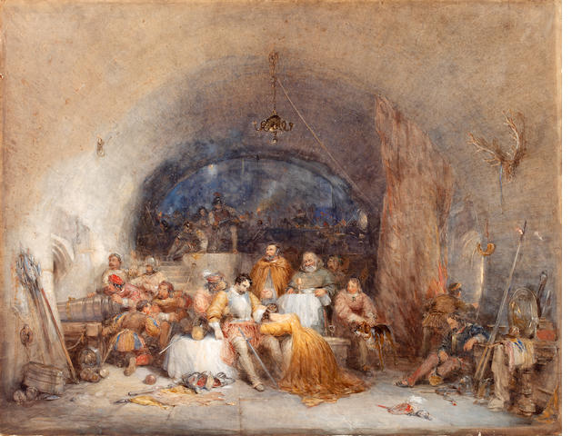 Circle of George Cattermole (British, 1800-1868) Figures sheltering in a castle vault