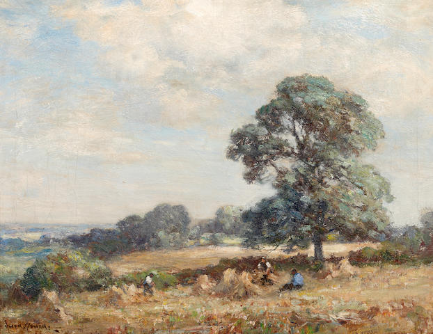 Owen Bowen (British, 1873-1967) Harvesters resting in an extensive landscape