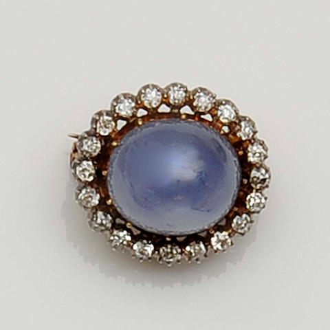 A late Victorian star sapphire and diamond cluster brooch