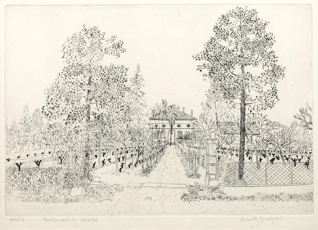 Anthony Gross (British, 1905-1984) Postman's House signed in pencil and numbered 35/50 etching 17 x