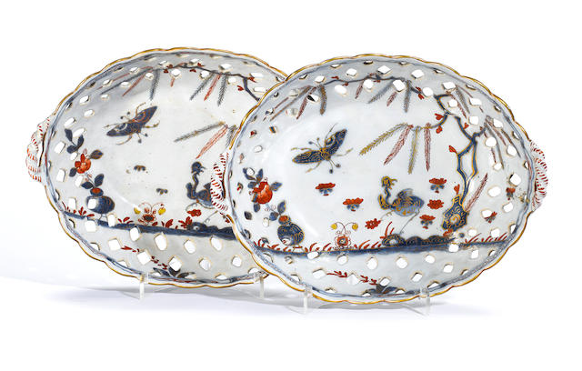 A pair of Milan faience oval baskets circa 1760-65