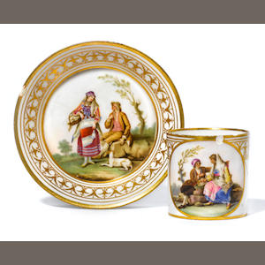 A Naples, Real Fabbrica Ferdinandea cup and saucer with Vestiture del Regno