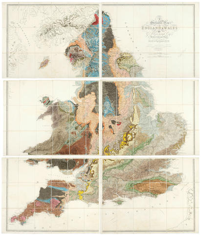 GEOLOGICAL MAP GREENOUGH (GEORGE BELLAS) A Physical and Geological Map of England & Wales