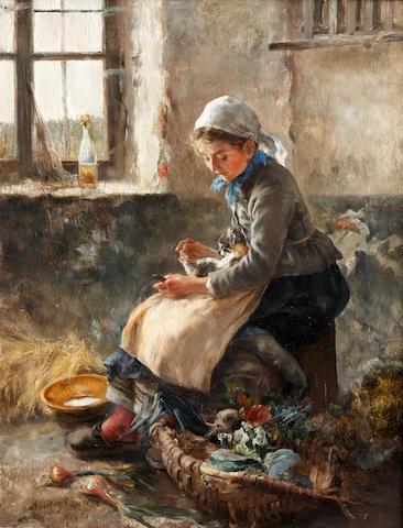 Arthur Langhammer (German, 1854-1901) Farm girl with kitten