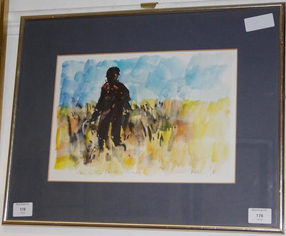 Harold Riley (British, 1934) Man in the fields, Israel