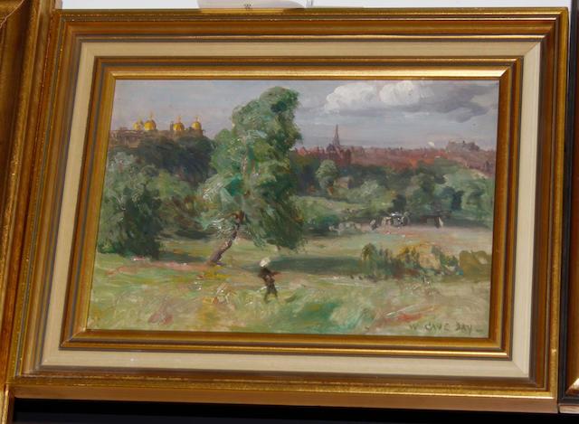 William Cave Day (British, 1862-1924) Boy flying kite in Valley Gardens, Harrogate