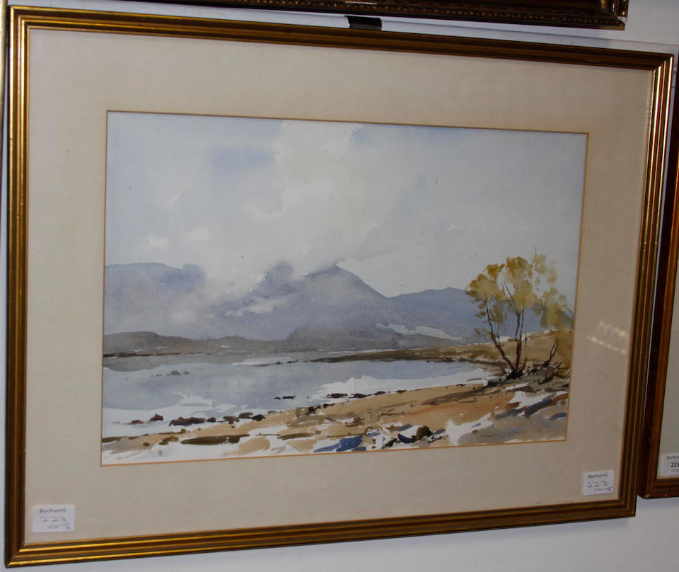 Edward Wesson, R.I., R.B.A., R.S.M.A. (British, 1910-1983) Loch Lynne near Port Appin; The Cuillins from Arisaig; and Sailing boats in shore the second 32 x 51cm., the third 32 x 50 cm.