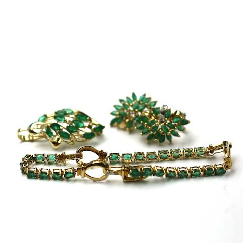 A suite of emerald and diamond jewellery
