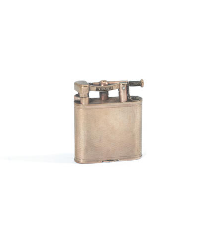 A 9ct gold cigarette case together with a yellow metal 'Dunhill' lighter (2)