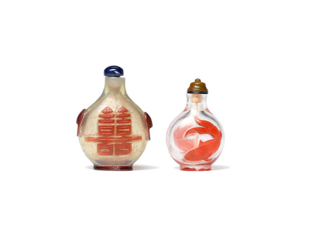 A red overlay bubble-suffused glass snuff bottle 1780-1850