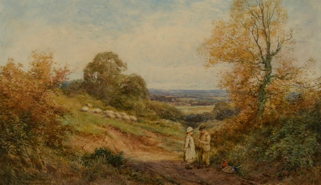 Henry John Sylvester Stannard, RBA (British, 1870-1951) Two children on a track before a sweeping lanscape