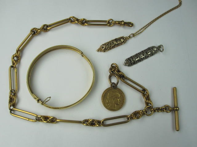 An 18ct gold fetter-link Albert chain