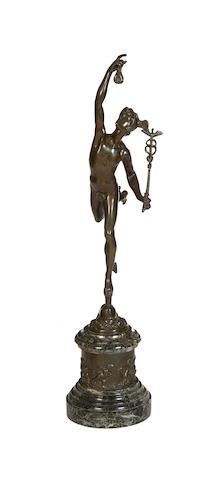After Giambologna, Italian (1529-1608) A 19th century bronze model of Mercury