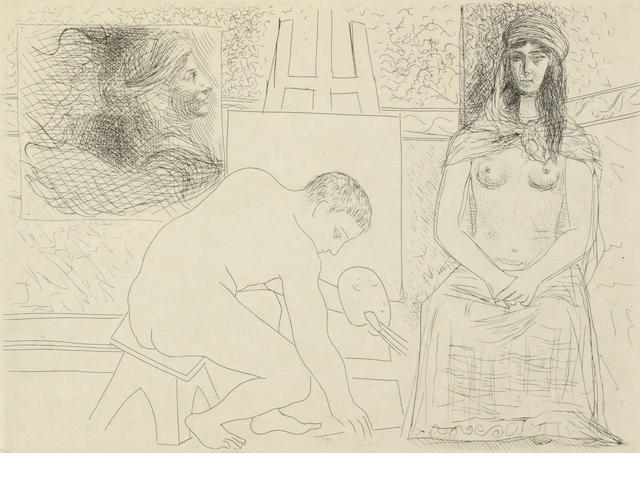 Pablo Picasso (Spanish, 1881-1973) Honoré de Balzac, Le Chef d'Oeuvre Inconnu  The complete set of 13 etchings, 1931, on japan paper, copy 30 of a total edition of 340, (there was an edition of 65 on japan, 240 on Rives and 35 HC), justification page signed in bistre by the artist and with the monogram of the publisher, with text in French, table of contents, 16 pages of  reproductions of drawings produced by the artist in 1924, plus 4 etchings from the series on BFK Rives paper (plates II, VII, X, XII), all the etchings loose as issued, within Montval paper covers, with the title and a wood engraving by Georges Aubert after a design by Picasso on the front and another wood engraving on the back, etchings printed by Louis Fort, published by Amboise Vollard, Paris, 194 x 278mm (7 5/8 x 10 7/8in)(PL), 335 x 265mm (13 1/4 x 10 1/2in)  Vol