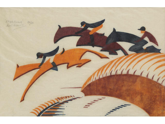 Sybil Andrews, CPE (British/Canadian, 1898-1993) Steeplechase Linocut, 1930, printed in Chinese orange, alizarin purple madder and Prussian blue, on buff oriental laid tissue, signed, numbered 22/50 in pencil upper left, 175 x 265mm (8 3/4 x 13 3/4in)(I)