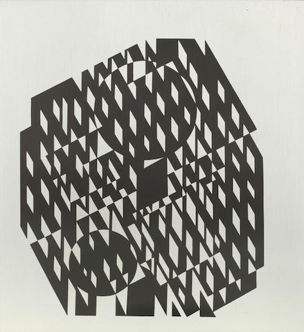 Victor Vasarely (Hungarian, 1906-1997) Untitled (Torke Uy) Screenprint on steelplate, numbered  8/17, verso, mounted on a grey painted wooden board, 480 x 485mm (PL)