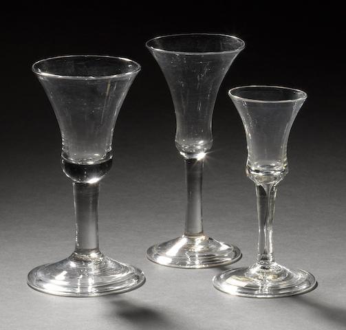 Three plain-stem wine glasses