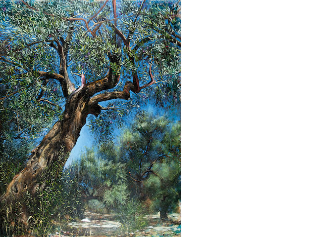 Maria Ktistopoulou (Greek, born 1948) Olive tree 180 x 140 cm.