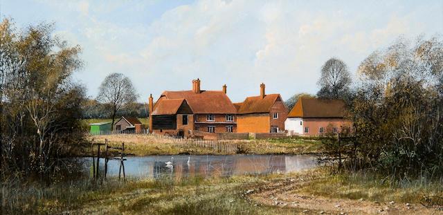 Clive Madgwick (British, 1934-2005) 'Kent farm scene, nr. Biddendon'